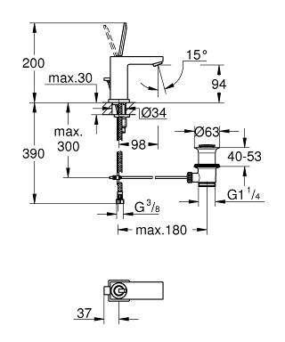 Wymiary techniczne baterii umywalkowej Grohe Eurocube Joy 23654000-image_Grohe_23654000_3