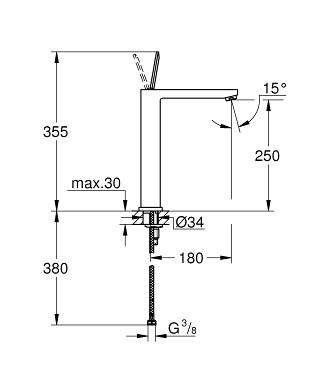 Wymiary techniczne baterii umywalkowej Grohe Eurocube Joy 23661000-image_Grohe_23661000_3