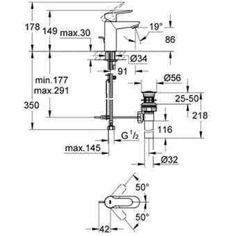Wymiary techniczne baterii umywalkowej Grohe Bauedge 23328000-image_Grohe_23328000_3