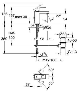 Rysunek z wymiarami baterii umywalkowej Grohe Eurocube 23127 00e.-image_Grohe_2312700e_4