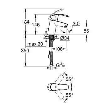 Wymiary techniczne baterii umywalkowej Grohe Eurosmart 32467002 bez korka automatycznego-image_Grohe_32467002_3