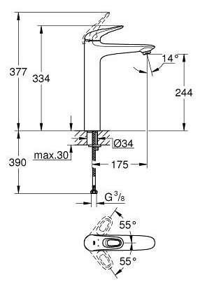 Rysunek techniczny Grohe Eurostyle XL bateria umywalkowa 23570LS3-image_Grohe_23570LS3_3