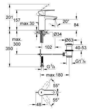 Wymiary techniczne baterii umywalkowej Grohe Eurostyle Cosmopolitan 3355220e-image_Grohe_3355220e_6