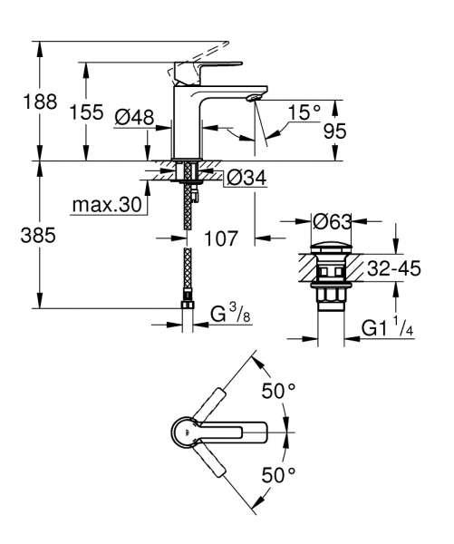 Dane techniczne jednouchwytowej baterii baterii umywalkowej Lineare 23791DC1