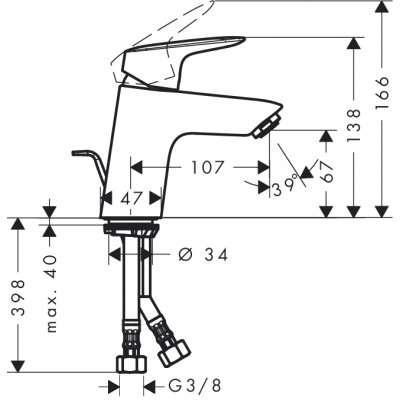 Wymiary techniczne baterii umywalkowej Logis 70-image_Hansgrohe_71170000_6