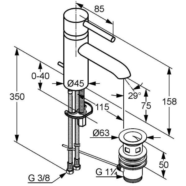 Wymiary techniczne baterii umywalkowej Kludi Bozz 382920576-image_Kludi_382920576_4
