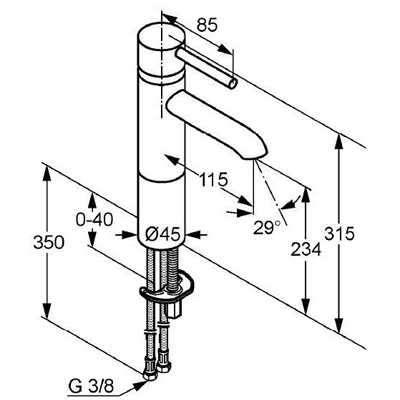 Wymiary baterii umywalkowej Kludi Bozz 382970576-image_Kludi_382970576_3