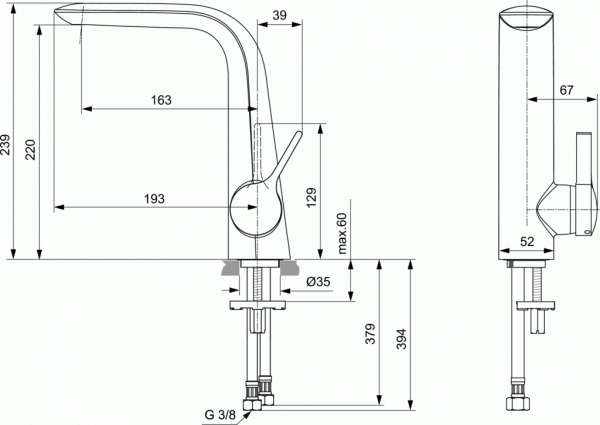 Wymiary techniczne baterii Melange-image_Ideal Standard_A6042AA_2