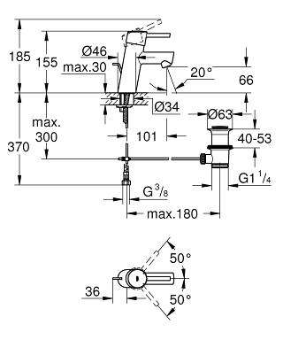 Wymiary techniczne baterii umywalkowej Grohe Concetto 3220410E-image_Grohe_3220410E_4