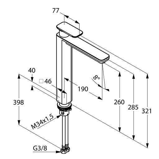 Wymiary techniczne baterii umywalkowej wysokiej Kludi E2 49298 0575-image_Kludi_492980575_3