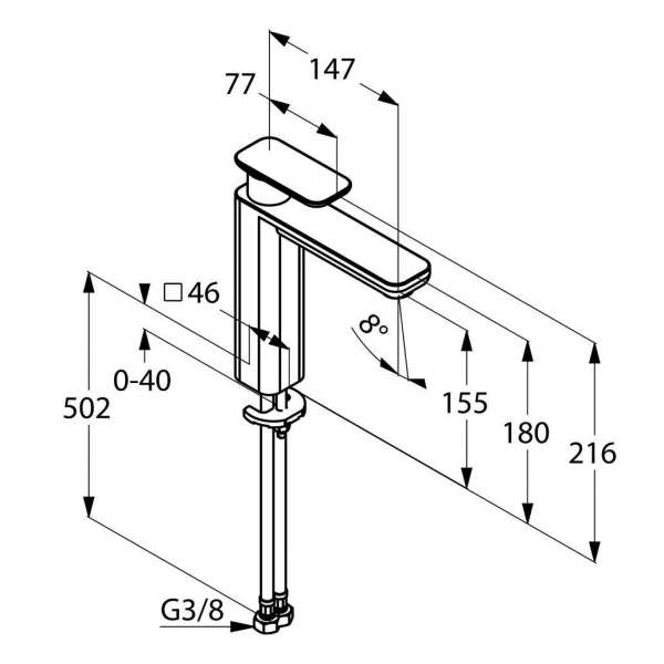 Rysunek techniczny baterii umywalkowej Kludi E2 492960575-image_Kludi_492960575_3