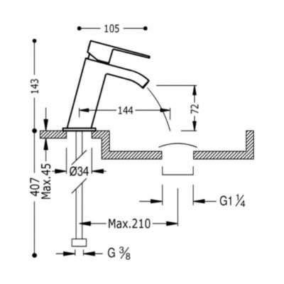 Rysunek techniczny białej baterii umywalkowej z kaskadą Tres CUadro White matt-image_Tres baterie do kuchni i łazienki_006.201.01.BM.D_2
