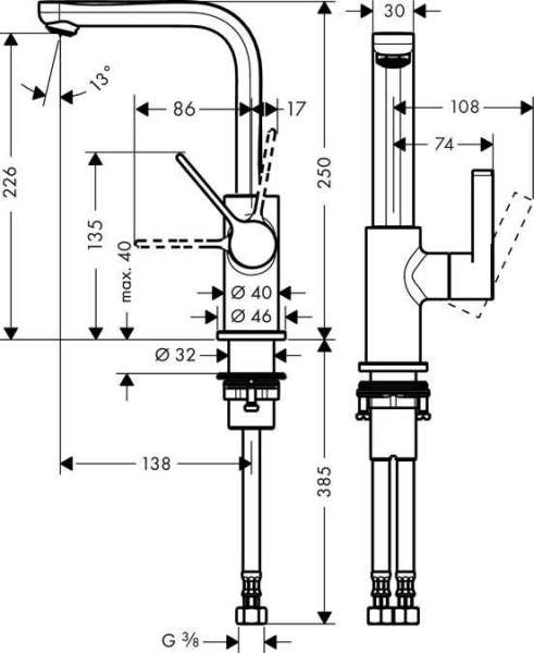 Wymiary techniczne baterii umywalkowej Metris S Hansgrohe 31161000-image_Hansgrohe_31161000_3