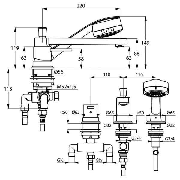 Wymiary techniczne baterii wannowej Kludi Zenta 384470575-image_Kludi_384470575_4