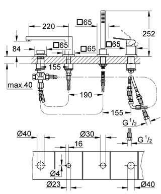 Wymiary techniczne 4 otworowej baterii wannowej Grohe Eurocube 19897 000-image_Grohe_19897000_5