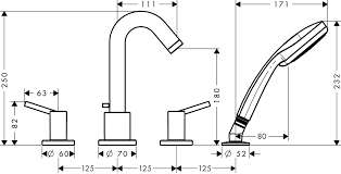 Rysunek techniczny baterii wannowej Hansgrohe Talis S 32314000-image_Hansgrohe_32314000_3