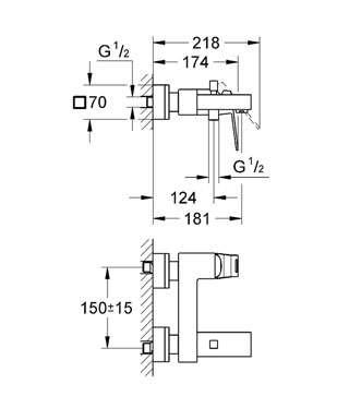Wymiary techniczne ściennej baterii wannowej Grohe Eurocube 23140000-image_Grohe_23140000_4