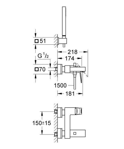 Wymiary techniczne baterii wannowej Grohe Eurocube 23141 000 z zestawem prysznicowym Euphoria.-image_Grohe_23141000_4