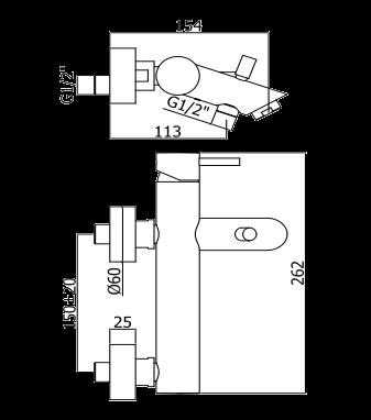 Wymiary techniczne baterii wannowej z kompletem natryskowym z serii LIGHT -image_Paffoni_150.750.11.1_2