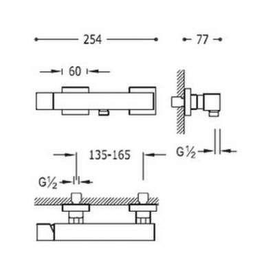 Wymiary techniczne ściennej baterii prysznicowej z zestawem natryskowym Tres Cuadro White 00716703BM-image_tres_00716703bm_2