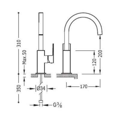 Wymiary techniczne baterii umywalkowej Tres Cuadro White matt H-310-image_tres_300660602bmd_2