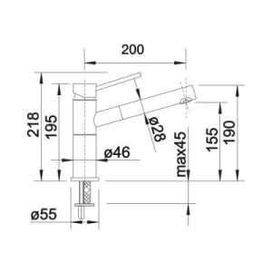 Rysunek techniczny baterii do zlewu Alta S Compact-image_Blanco_515327_2