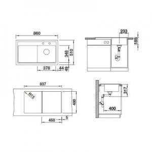 Wymiary techniczne zlewozmywaka Blanco Zenar 45 S 524151-image_Blanco_524151_2