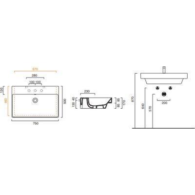 Wymiary techniczne umywalki Catalano Zero 75x50 -image_Catalano_175ZPCS_2