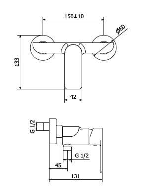 Rysunek techniczny natynkowej baterii prysznicowej Teorema XS 8x210BB-image_Teorema_8X210BB-009_2