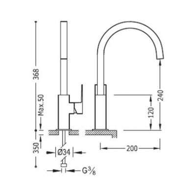 Wymiary techniczne baterii umywalkowej Tres Cuadro Black Matt 00660702NMD-image_tres_ 00660702nmd_2