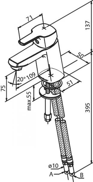Rysunek techniczny baterii Damixa Pine 1702100-image_Damixa_170210000_2