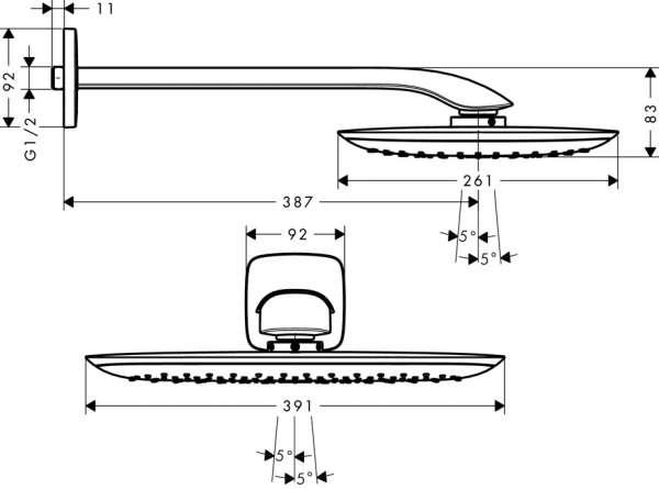 Rysunek techniczny deszczownicy ściennej Puravida 27437000-image_Hansgrohe_27437000_3