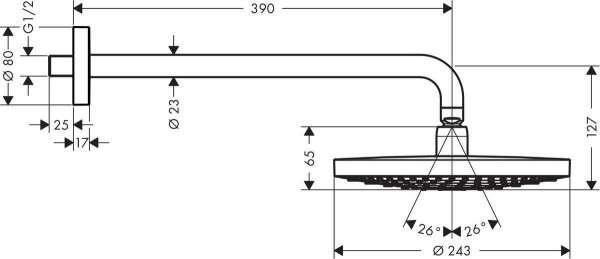 Wymiary techniczne deszczownicy ściennej Hansgrohe Raidance Select S 240 26466000-image_Hansgrohe_26466000_4