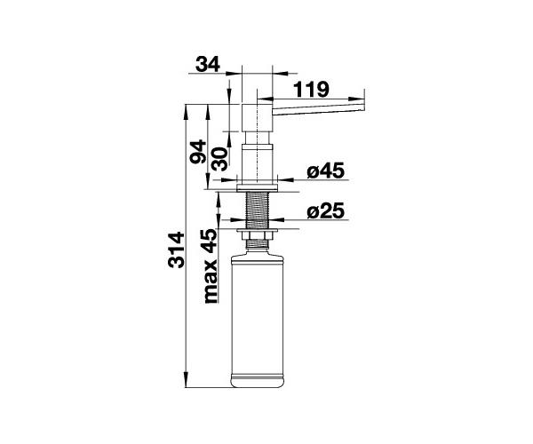 Wymiary techniczne dozownika Blanco 525809