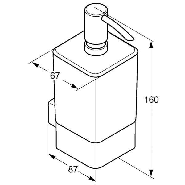 Rysunek techniczny dozownika na mydło Kludi E2 4997605-image_Kludi_4997605_3