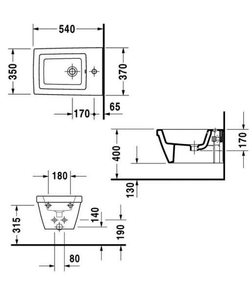 Rysunek techniczny bidetu wiszącego Duravit 2254150000-image_Duravit_2254150000_3