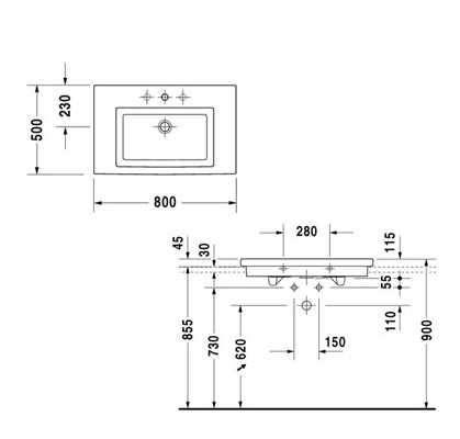 Rysunek techniczny umywalki Duravit 2nd Floor 0491800027-image_Duravit_0491800027_3