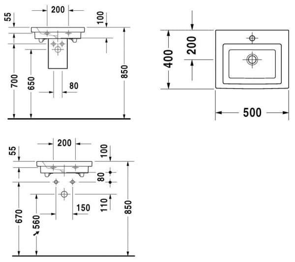 Rysunek techniczny umywalki Duravit 2nd floor 079050 00 00-image_Duravit_0790500000_3