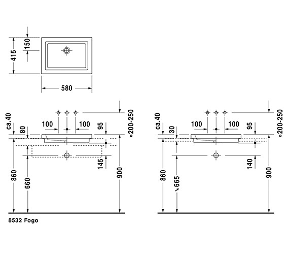 Wymiary techniczne umywalki wpuszczanej w blat Duravit 2nd floor-image_Duravit_0317580029_2