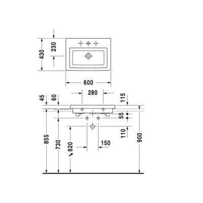 Rysunek techniczny umywalki 2nd Floor 0491600027-image_Duravit_0491600027_3