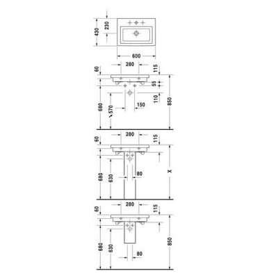 Rysunek techniczny umywalki 60 2nd Floor 049160-image_Duravit_0491600000_3