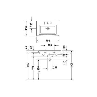 Rysunek techniczny umywalki 70 2nd Floor 049170 0027-image_Duravit_0491700027_3