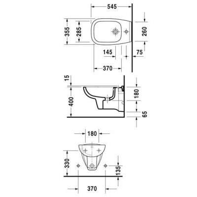 Rysunek techniczny bidetu podwieszanego D-code-image_Duravit_22571500002_3
