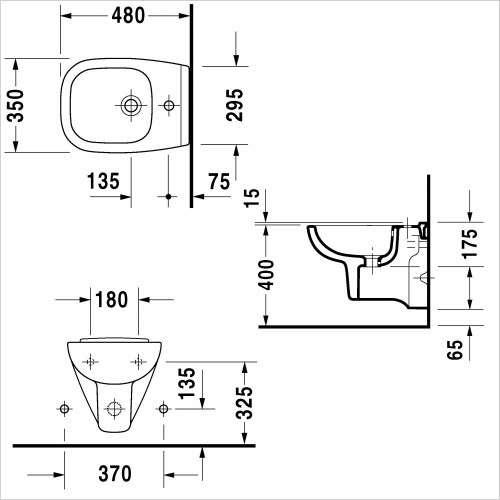 Wymiary techniczne bidetu wiszącego D-Code 223715 00002-image_Duravit_22371500002_3