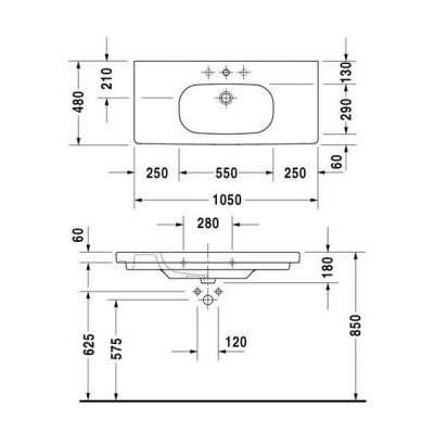 rysunek techniczny umywalki meblowej C-code 1050-image_Duravit_03421000002_3