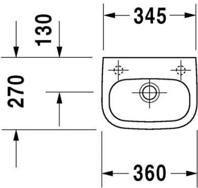Rysunek techniczny umywalki Duravit D-code 07053600002-image_Duravit_07053600002_3