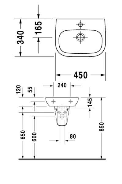 Rysunek techniczny umywalki Duravit D-code 070545 00002-image_Duravit_07054500002_3