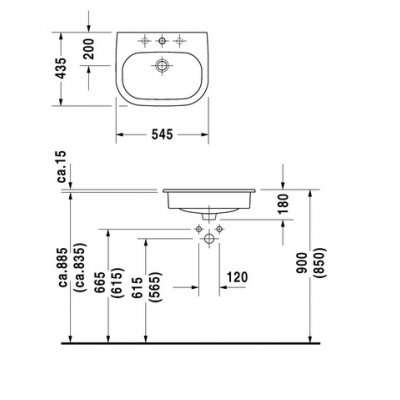 Rysunek techniczny umywalki wpuszczanej w blat d-code -image_Duravit_0337540000_4