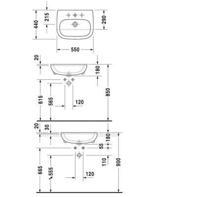 Rysunek techniczny umywalki D-code półblatowej-image_Duravit_0339550000_4