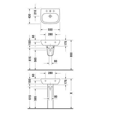 Wymiary techniczne umywalki ściennej Duravit D-Code 55 23105500002-image_Duravit_23105500002_4